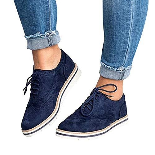 Rioneo Damen Schnürschuhe Oxford Schuhe Feminine Brogues Flache Freizeit Vintage Schnürer Schuhe Schwarz Pink Grau Blau Brown 35-43 Blau 37