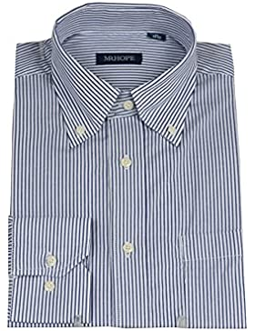 Camicia classica bianca righe azzurre