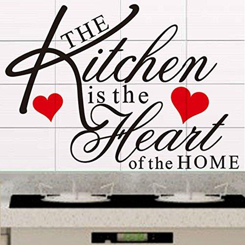 Dokfh Die Küche ist das Herzstück des Home Quote Wall Decal dekorative abnehmbare Vinyl-Wandaufkleber (Halloween Diy Herzstück)
