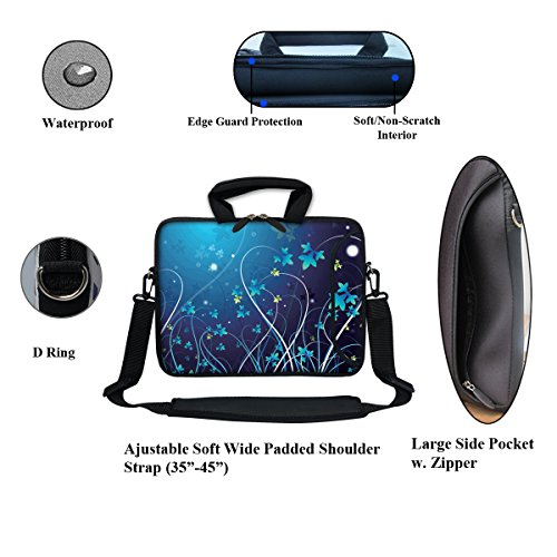 """11.6 inch Neoprene Laptop Bag Sleeve with Extra Side Pocket, Soft Carrying Handle & Removable Shoulder Strap for 10"""" to 11.6"""" Size Notebook Computer – Blue Swirl Flower"""