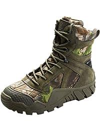 FREE SOLDIER Hombres Militares High-Top Zapatos táctico Senderismo Botas Cordones Trabajo Combate Todos los terrenos Botas Resistente al Agua 3 Colores,Camouflage, 46 EU