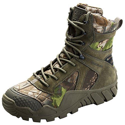 FREE SOLDIER Hombres Militares High-Top Zapatos táctico Senderismo Botas Cordones Trabajo Combate Todos los terrenos Botas Resistente al Agua 3 Colores,Camouflage, 40 EU