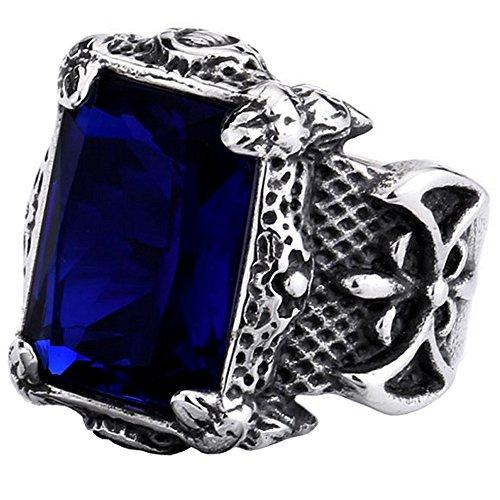 Azul Real Zirconia Cúbica Titanio y Acero Inoxidable Anillo Hombre Vi