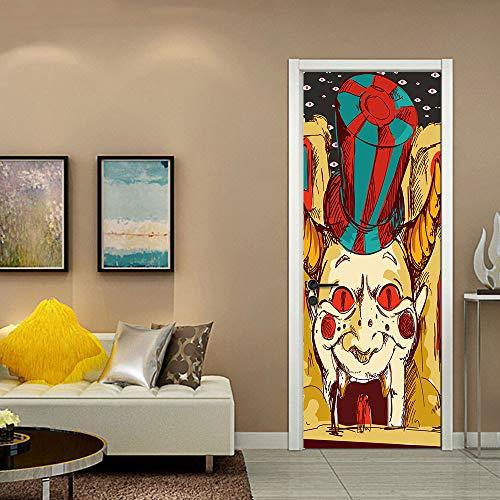liwendi Großen Mund Horror Clown Halloween Kreative 3D Tür Aufkleber Persönlichkeit Holztür Hause Dekorative Wandaufkleber 77 * 200 cm