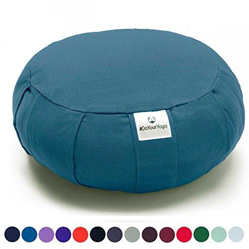 Coussin Zafu »Moogli« / Coussin de méditation de yoga classique ou coussin de yoga / 100 % coton / 35 cm x 15 cm / Disponible dans de nombreuses couleurs magnifiques / Bleu Pigeon