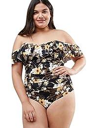 OHQ Mesdames Floral Bikini Plus Size Maillot De Bain Jaune Les Femmes Grande Taille Hors Imprimé à L'éPaule Push-Up Maillots RembourréS Pour PièCe Push Up Rembourre