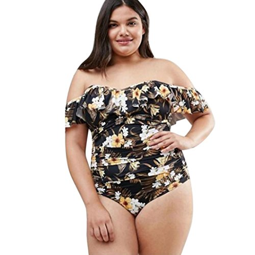 OVERDOSE Plus Size Frauen Aus Schulter Gedruckt Bikini Sets Push-Up Kausal Bademode Badeanzüge Gepolsterte Badebekleidung(A-Yellow,5XL)