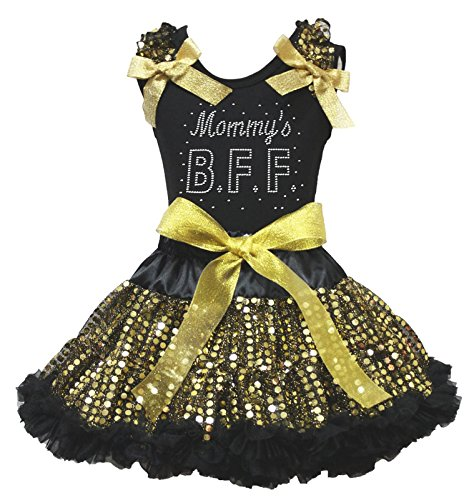 Mother Day Mommy's BFF Black Shirt Gold Sequin -