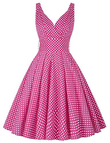 Damen Einfach Brautjungfer kleid aermellos Baumwolle Cocktailkleid Größe M CL6295-3 (Kleid Baumwolle Ärmelloses)