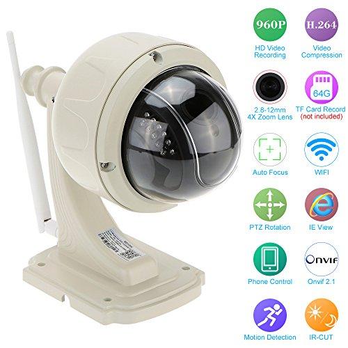 "KKmoon Cámara IP WiFi Inalámbrico 3.5"" H.264 HD 960P 2.8-12mm Auto Focus PTZ Cámara CCTV de Vigilancia"