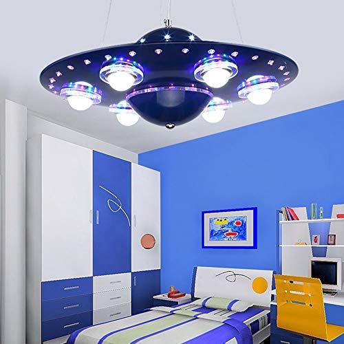 LRXHGOD Kronleuchter Kinderlampe Jungen und Mädchen Raum Lampen UFO Flying Saucer Kreative Dekoration Licht Schlafzimmer Kinder Schlafzimmer Cartoon Beleuchtung,Blue -