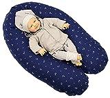 Sharlene Stillkissen aus Baumwolle mit Bezug - Schadstoffgeprüftes Lagerungskissen - Mikro-Perlen Baby Kissen - Seitenschläferkissen ( 185 cm, Dunkelblau )