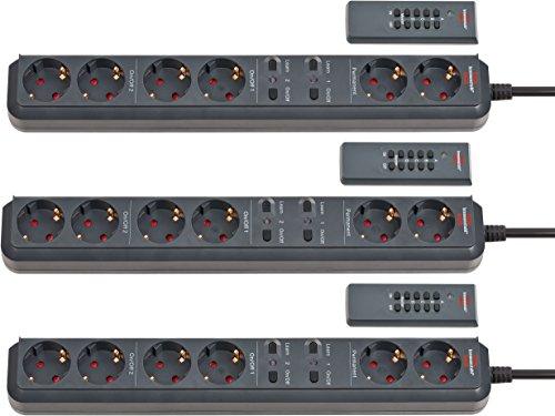 3 Stück Brennenstuhl Eco-Line Funkschalt-Steckdosenleiste RC EL1 1001 6-fach anthrazit 1,5m H05VV-F 3G1,5 2 permanent, 4 schaltbare Steckdosen (Line-taste Drei)