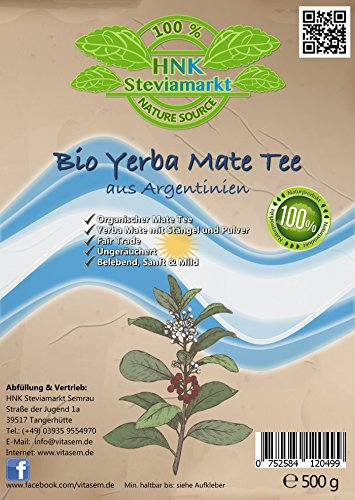 Bio Yerba Mate Tee aus Argentinien (500g) | Fair Trade | 100 Organic | Ungeräuchert | Frei von Schadstoffen | Belebend, Sanft Mild -