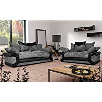 Grande Nuovo Dino Corner Sofa Set or 3 Seater and 2 Seater Settees Couches Color Variations Available This variation includes: (Black & Grey