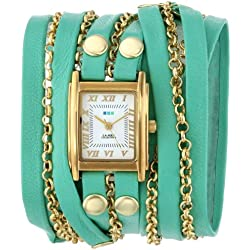 La Mer Collections Damen LMCLIFTON002 Mint Gold Clifton Square Case White Dial 14k Gold-Plated Jewelry Chains Armbanduhr