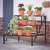 NAYAB HANDICRAFTS Step Style 3 Tier Rectangular Indoor/Outdoor Plant Display Stand, Garden Corner Shelf for Flower Pot, Black