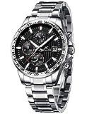 Herren Uhr Männer Militär Chronographen Schwarz Edelstahl Wasserdicht Armbanduhren Mann Designer Sport Business Dress Datum Mond Phase Analog Uhren
