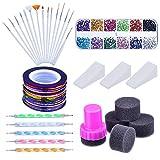 Mudder Nail Arts Kit with Nail Art Brushes, 12 Colors Nail Rhinestones, 2 Way Dotting Pen, Assorted Colors Nail Striping Tape and Gradient Nails Spong