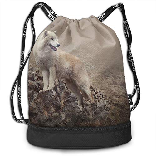 Drawstring Backpacks Daypack Bags,White Wolf On Rocks at The Night Hazy Misty Weather Wildlife Nature Scenery Print,Adjustable String Closure. White Belt Clip