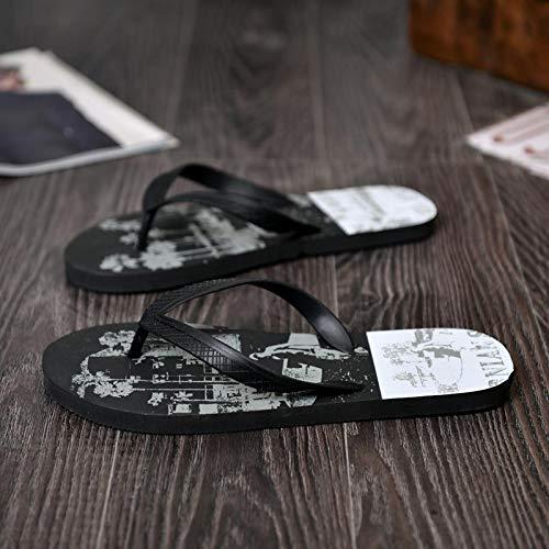 ops Trendy rutschfeste männliche Outdoor Drag Ordner Student Sommer Drag Sandalen und Hausschuhe Herringbone Beach Schuhe Füße, 43, A3 schwarz und weiß ()