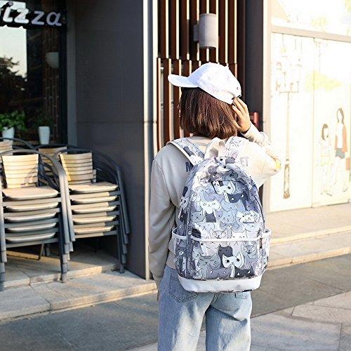 Acmebon Zaino scuola alla moda per ragazza, Zaino casual per computer portatile, Set da 3 pezzi Gatto 621