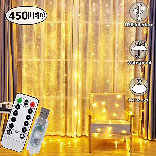 450 LED Curtain Lights, USB Plug in Window Lights 3mx3m 8 Modes Remote Control Timer Waterproof Upgrated LED Copper String Lights for Christmas Party Wedding Garden Bedroom Decoration(Warm White)