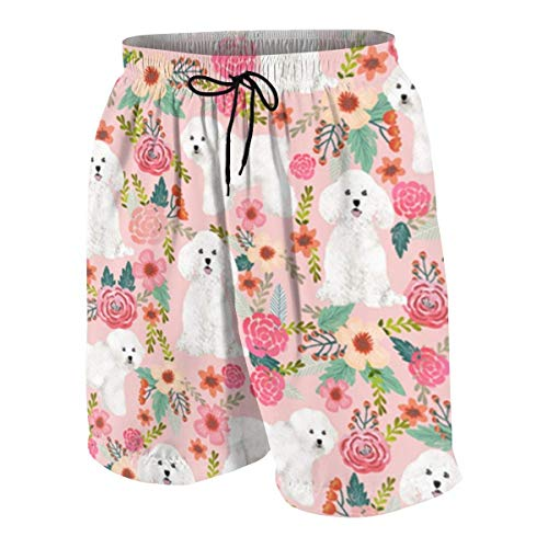 vcbndfcjnd Bichon Frise Fabric Flowers Boys Beach Shorts Quick Dry Beach Swim Trunks Kids Swimsuit Beach Shorts,Boys' Assist Basketball Shorts S
