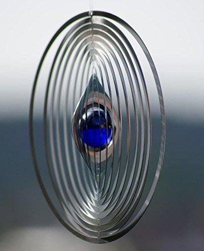 A2003 - steel4you hochwertiges 3D Windspiel aus Edelstahl mit Glasperle - Kreis 15cm x 15cm - made in Germany - 3