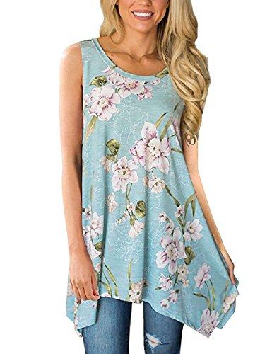 DJT FASHION Damen Sommer Ohne Arm T-Shirt Rundhals Asymmetrisch Tunika Langshirt Oberteile T69-Blau L (Tunika Asymmetrische)