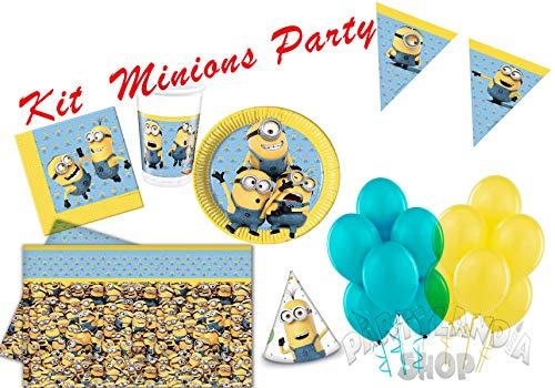 PARTYLANDIA Minions Geburstag Party Kit für 16 Personen inklusive Dekorationen und Motivdekorationen-80 Stck