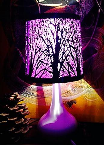 Lampe touch métal blanc motif arbre