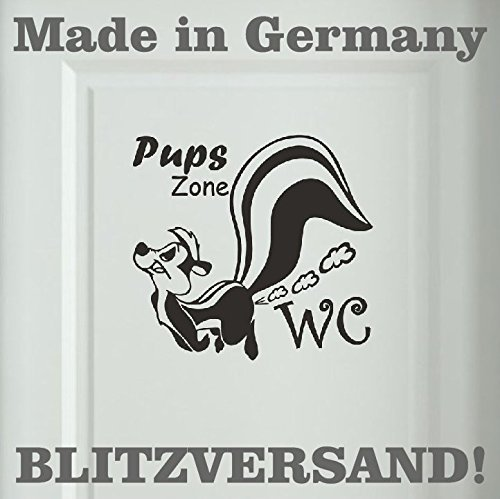 Stinktier Wandtattoo Pups Zone WC Badezimmer Toiletten Türaufkleber Sprüche 16×15 cm schwarz
