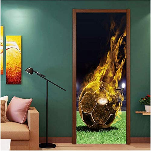 lying Gold Fußball Tür Aufkleber Kinderzimmer Fußball Funs Sport Kunst Spiel Pvc Diy Poster Tapete Dekoration Abziehbilder ()