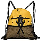 ziHeadwear Freestyle Skier Drawstring Bag Sport Gym Sack Bundle Backpack Daypack for Men and Women Outdoor Shopping Satchel Rucksack