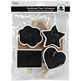 Multicraft Imports CD954A Style No.1 Chalkboard Tag Clothespins (4 Pack), Black