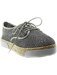 Angkorly Scarpe Moda Espadrillas Scarpa Derby Suola di Sneaker Zeppe Donna  Perforato Paillette Corda Tacco Tacco 292ff17c6f1