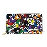 COOSUN Billardkugel-echtes Leder-große Kapazitäts-Mappen-Kartenhalter-Organisator mit Reißverschluss Kupplung Geldbörse für L Mehrfarben