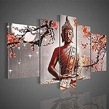 TOPmountain 5 Unids / lote Abstracto Lienzo de Buda Mural Cuadro pintado Pintura al óleo Decoración del hogar