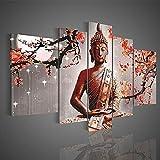 Haihuic Modernes Buddha-Portrait 5 Panels Leinwand Wandkunst Malerei Druck auf Leinwand, ohne Rahmen, für Wohnzimmer Wanddekoration