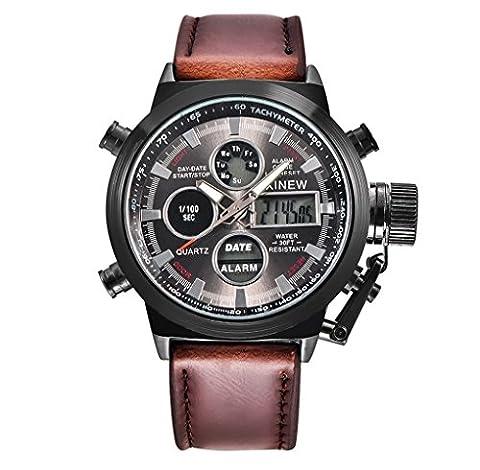 Amcool Herren Uhr LED Jahrgang Klassisch Wasserdicht Datum Stainless Steel Sport Armee Uhr Kaffee B