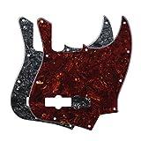 FLEOR 4Ply 10 fori chitarra scratch piastra bozzello per basso Jazz, 2pcs perla nera e Tortoise rosso