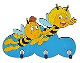 Unbekannt Garderobenhaken - die Biene Maja und Willi fliegen - aus Holz - für Kinder mit 3 Haken - Kinderzimmer Garderobe Kleiderhaken / Garderobenleiste Kindergarderobe Wandhaken Wandgarderobe