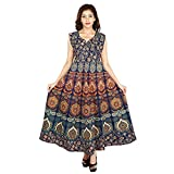 Monik Handicrafts Women's Cotton Jaipuri Printed Maxi Long Dress (Blue_Free Size)