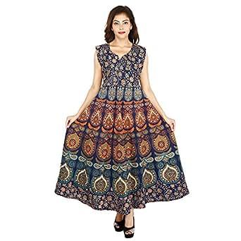 Monik Handicrafts Women's Cotton Jaipuri Printed Maxi Long Dress (Blue_Free Size)