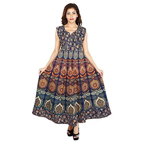 Monik\'s Designer Cotton Women\'s Maxi long Dress Jaipuri Printed Free Size