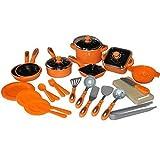 28tlg Kinder Kochgeschirr Puppengeschirr Topfset Puppenküche Puppentöpfe (orange)