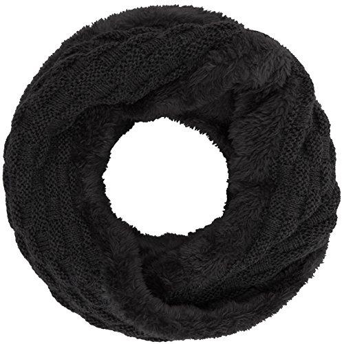 Compagno Winter Loop-Schal Damen-Schal gefüttert Winter-Schal Strick-Schal, SCHAL Farbe:Schwarz