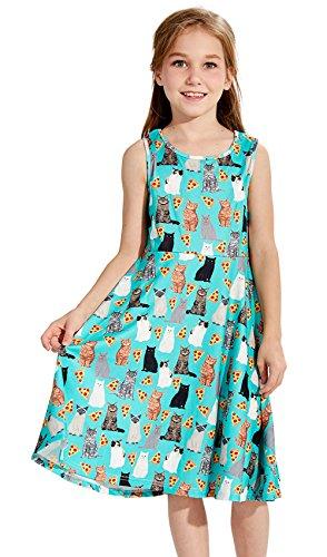 Chicolife Kleinkind 8-9Years Mädchen Kleid Funny Cats Druck ärmellose Kleider Kausale Grün
