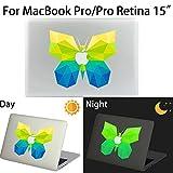 MacBook Pro/Pro Retina Aufkleber, AKPATI Haut Aufkleber Removable Leuchtender Aufkleber Skin Laptop Decal Sticker Abdeckung Abziehbild für MacBook Pro/Pro Retina 15 Zoll - Butterfly #1 Pattern